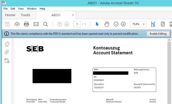 PDF Kontoauszug